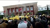 الوقفة الاحتجاجية للنقابات الأربع أمام البرلمان